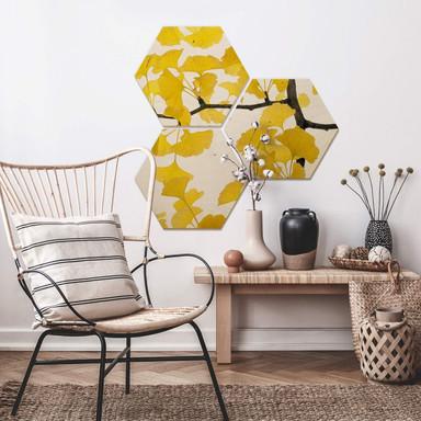 Hexagon - Holz Birke-Furnier - Kadam - Flora Ginko 3er Set - Bild 1
