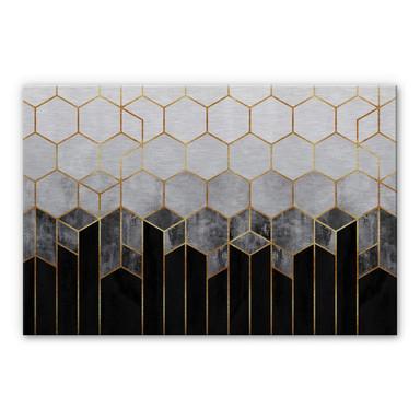 Alu-Dibond-Silbereffekt Fredriksson - Hexagone: Schwarz und Grau