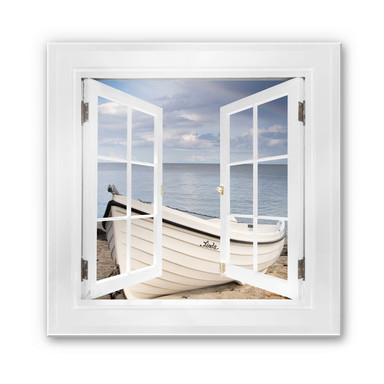 Glasbild 3D Fenster quadratisch - Strandidyll - 50x50cm - Bild 1