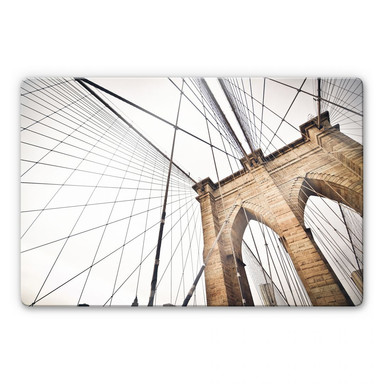 Glasbild Brooklyn Bridge - Perspektive 02
