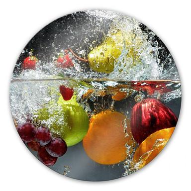Glasbild Erfrischendes Obst - rund