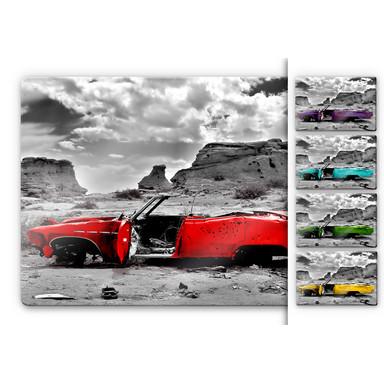 Glasbild Roter Cadillac