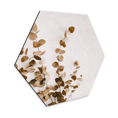 Hexagon - Alu-Dibond Annie - Getrocknete Blätter