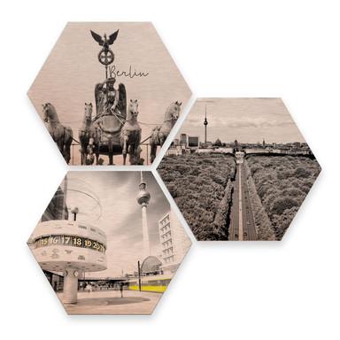 Hexagon - Alu-Dibond-Kupfereffekt - Impression of Berlin (3er Set)