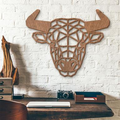 Holzkunst Mahagoni - Origami Stier