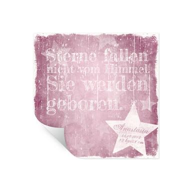 Wallprint Wunschtext & Name - Sterne fallen nicht vom Himmel (rosa)