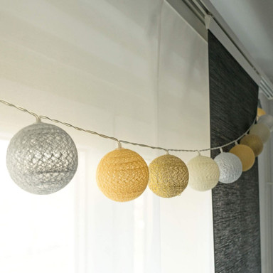 Cotton Ball Lights LED-Lichterkette gelb 20-teilig - Bild 1