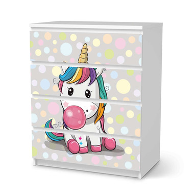 Folie IKEA Malm Kommode 4 Schubladen - Rainbow das Einhorn- Bild 1