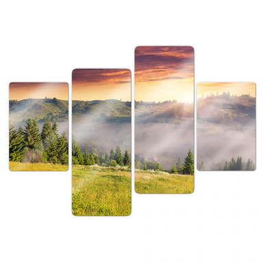 Glasbild Bergtal im Nebel (4-teilig)
