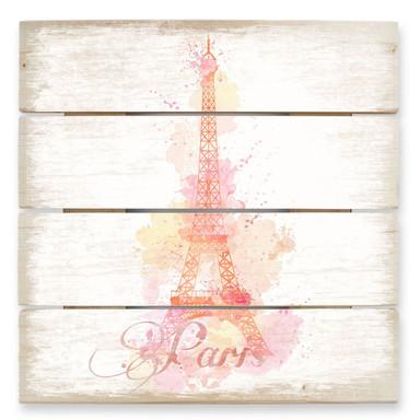 Holzbild La Tour Eiffel Aquarelle