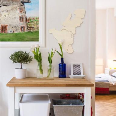Holzkunst Pappel Furnier - Karte Benelux