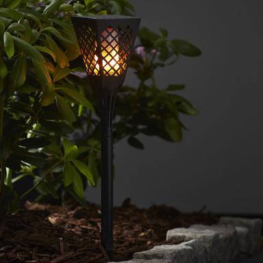 LED Solar Fackel Flame, Schwarz, eckig, mit moving Flame Funktion