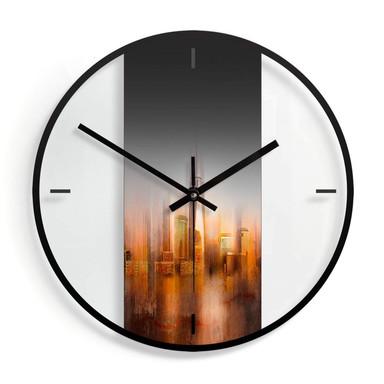 Wanduhr aus Glas - Chiriacò - New York im Abendlicht Ø30cm