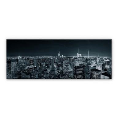 Alu Dibond Bild New York at Night 2 - Panorama