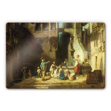 Glasbild Spitzweg - Wäscherinnen am Brunnen