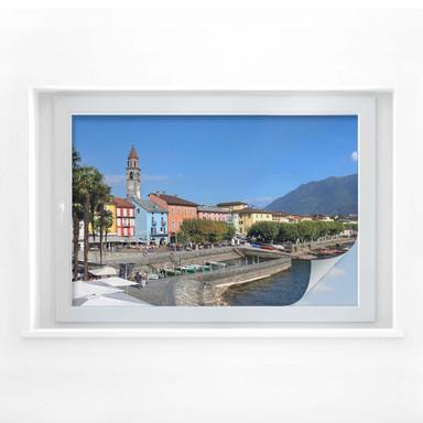 Sichtschutzfolie Hafenpromenade am Lago Maggiore