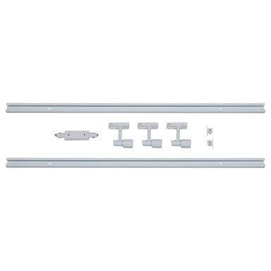 famlights   1-Phasen Schienensystem-Set 2 Meter inkl. 3 Spots in Weiss GU10