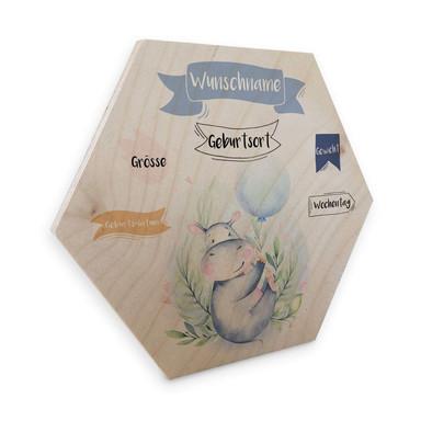 Hexagon - Holz Kvilis - Flusspferd blauer Luftballon & Wunschtext