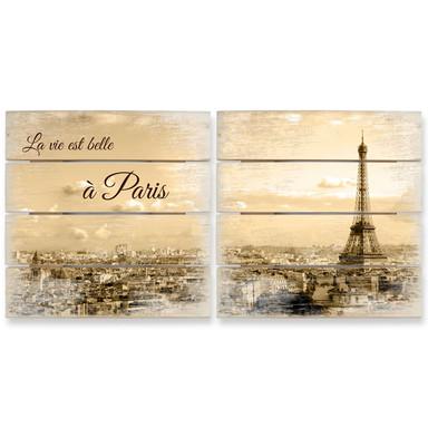 Holzbild Set Paris Skyline (2-teilig)