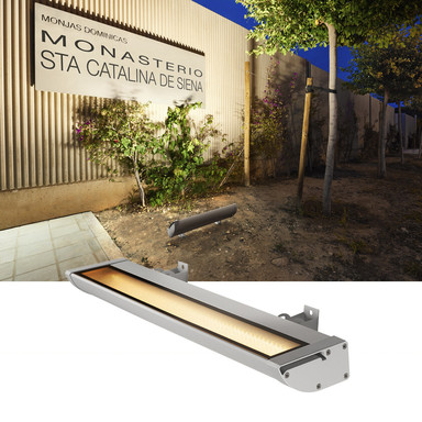 LED Outdoor Strahler Vano Wing, silbergrau, 3000 K, 635x65x205 mm
