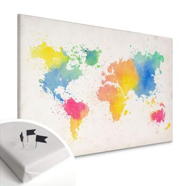 Leinwandbild mit Korkrückwand - Weltkarte - Watercolour