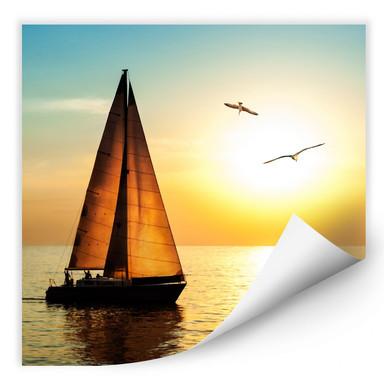 Wallprint Segelboot im Sonnenuntergang