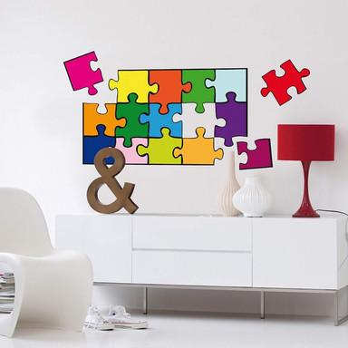 Wandsticker Puzzle Farbig - Bild 1