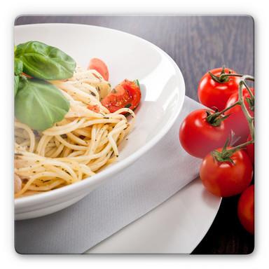 Glasbild Pasta Italiano - quadratisch