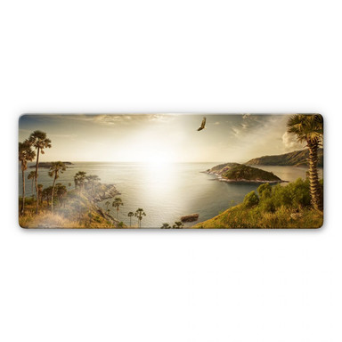Glasbild Sonnenuntergang im Paradies - Panorama