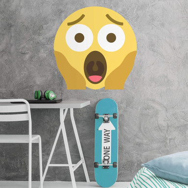Wandtattoo Emoji Screaming in Fear