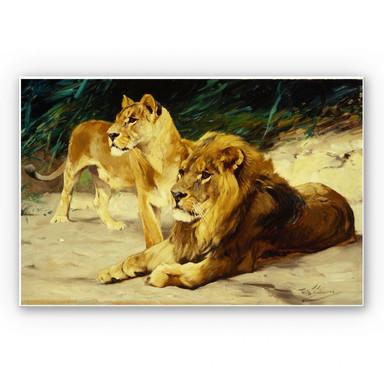Hartschaumbild Kuhnert - Löwenpaar