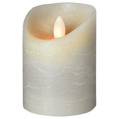LED Kerze Shine Wachs gefrostet in Grau 100x75x75mm