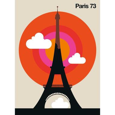 Livingwalls Fototapete ARTist Paris 73 Eiffelturm beige, orange, rosa, rot, schwarz, weiss - Bild 1