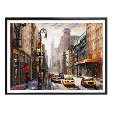 Poster Roter Schirm in New York Aquarell