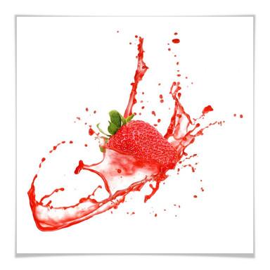 Poster Splashing Strawberry