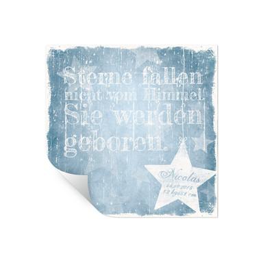Wallprint Wunschtext & Name - Sterne fallen nicht vom Himmel (blau)