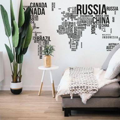 Wandtattoo Weltkarte Typo - Länder