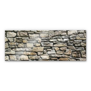 Acrylglasbild Natursteinmauer Panorama
