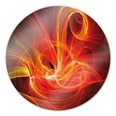 Glasbild Chaos Ray rot - rund