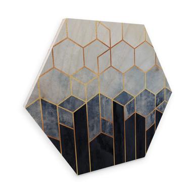 Hexagon - Holz Birke-Furnier Fredriksson - Hexagone: Blau und weiss