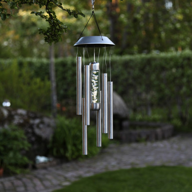 LED Solar Windspiel Bubbly, Edelstahl, 350mm