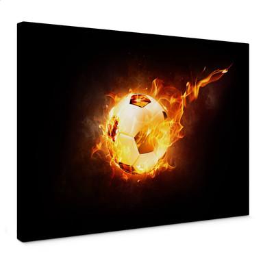 Leinwandbild Fussball in Flammen