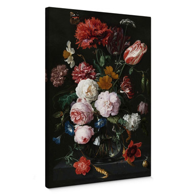 Leinwandbild Heem - Stillleben mit Blumen in einer Glasvase