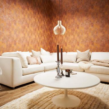 Livingwalls Vliestapete New Walls Urban Grace geometrische Tapete braun, metallic, orange