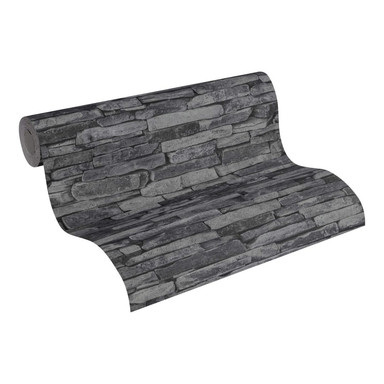 Mustertapeten A.S. Création Tapete Wood'n Stone Grau, Schwarz