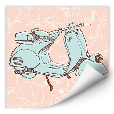 Wallprint Illustrated Vespa - quadratisch