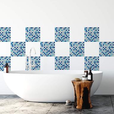 3D Fliesenaufkleber Mosaikmuster Blau - 4er Set je 25.4 x 25.4cm