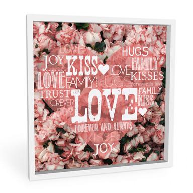 Hartschaumbild Liebesherz im Blumenmeer - quadratisch