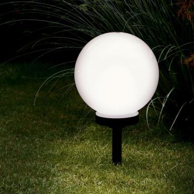 LED Solar-Kugel, schwarz, 300mm, mit Erdspiess