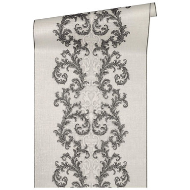 Versace Home Mustertapete Tapete Baroque & Roll Grau, Metallic, Weiss